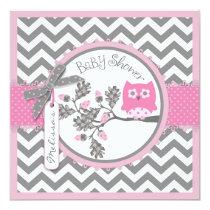 Baby Girl Owl Chevron Print Baby Shower Card