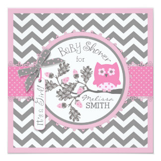 Baby Girl Owl Chevron Print Baby Shower Card