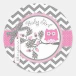 Baby Girl Owl Chevron Print Baby Shower Classic Round Sticker