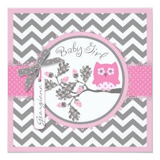 Baby Girl Owl Chevron Print Baby Shower 5.25x5.25 Square Paper Invitation Card