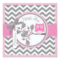 Baby Girl Owl Chevron Print Thank You Card