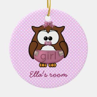 baby girl owl christmas ornament