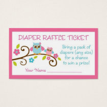 Baby Girl Owl Diaper Raffle Tickets