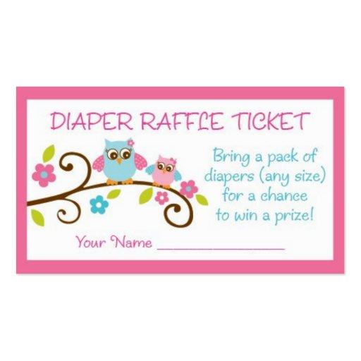 Baby Girl Owl Diaper Raffle Tickets Business Card | Zazzle