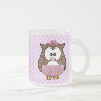 baby girl owl frosted glass coffee mug