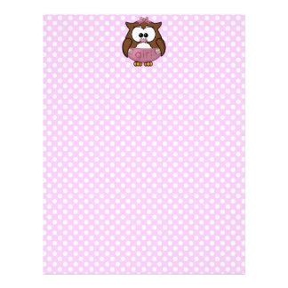 baby girl owl letterhead