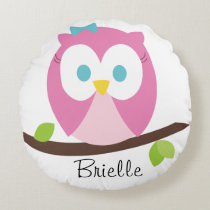 Baby Girl Owl on a Branch Round Pillow