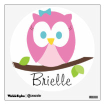 Baby Girl Owl on a Branch Wall Decal