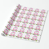 Baby Girl Owl on a Branch Wrapping Paper