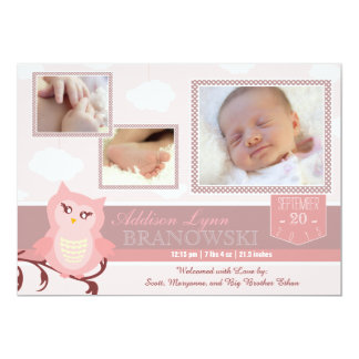 Baby Girl Owl Photo Birth Announcement