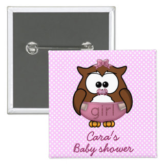 baby girl owl pinback button