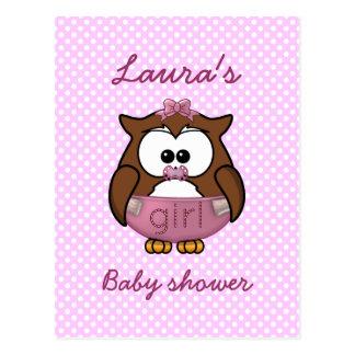 baby girl owl post card