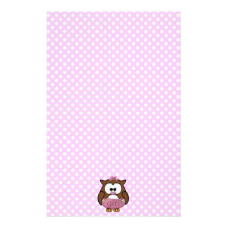 baby girl owl stationery
