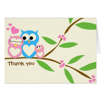 Baby Girl Owl Thank You Note Card