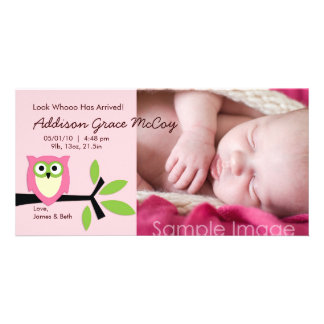 Baby Girl Owl Theme Birth Announcement Photo Card