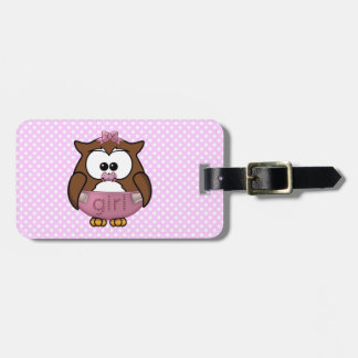baby girl owl travel bag tag
