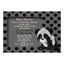 Baby Girl Panda Bear Baby Shower Invitation