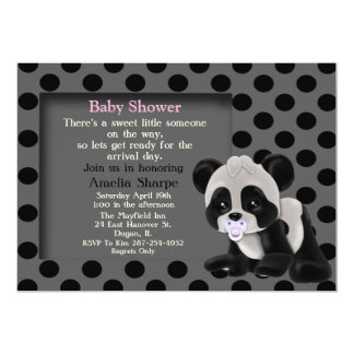 Baby Girl Panda Bear Baby Shower Invitation