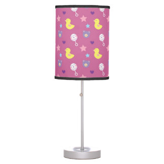 Baby Girl Pattern with bears, ducks, and rattles Table Lamp