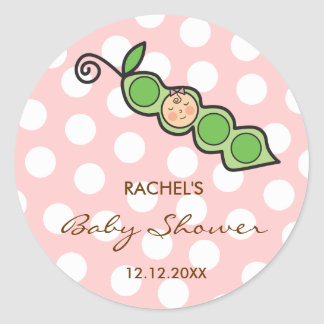Baby Girl Pea in a Pod Baby Shower Label / Sticker