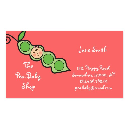 Baby Girl Pea in a Pod Fun Cartoon Profile Card Double-Sided Standard Business Cards (Pack Of 100)