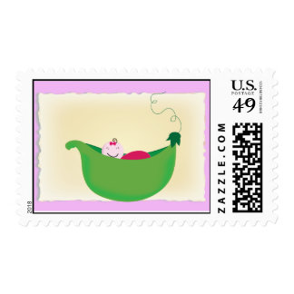 Baby Girl 'Pea in a pod' postage stamp
