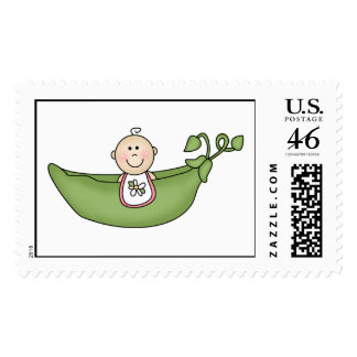 Baby Girl Pea in The Pod Postage Stamps