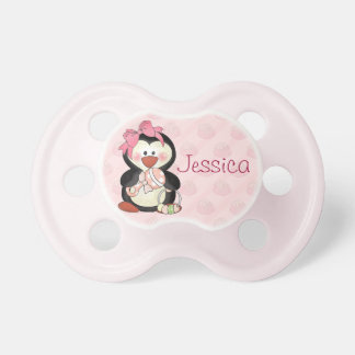Baby Girl Penguin to Personalize Baby Pacifiers