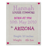 Baby Girl personalized date of birth print