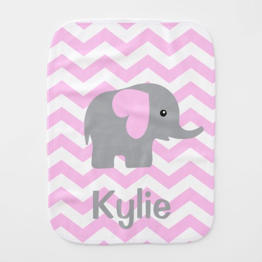 Baby Girl Personalized Elephant Chevron Burp Cloth