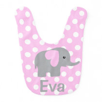 Baby Girl Personalized Elephant Pink Polka Dot Bib