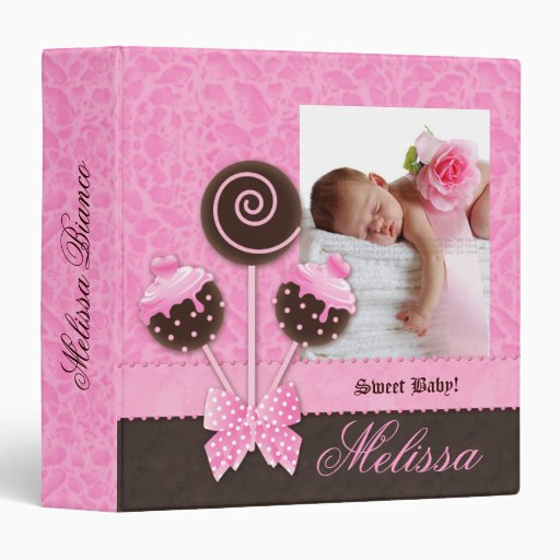 Baby Girl Photo Album Cute Cake Pops Binders Zazzle