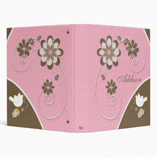 Baby Girl Photo Album in Pink and Brown Binder