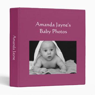 Baby Girl photo album wine red custom photo binder
