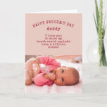 Baby Girl Photo and Cute Wording Happy Fathers Day Card