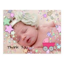 Baby girl photo announcement postcard