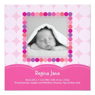 """Baby Girl Photo Birth Announcement 5.25"""" Square Invitation Card"""