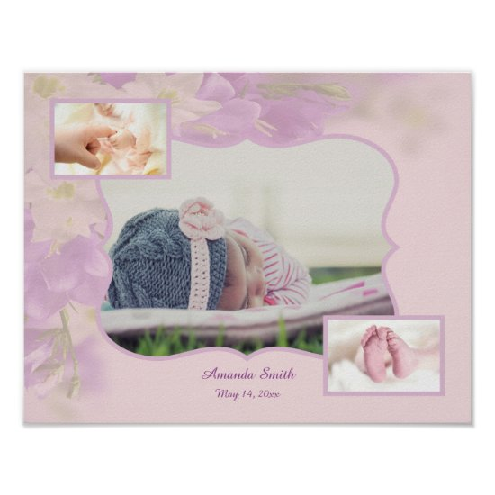 Baby Girl Photo Collage Poster