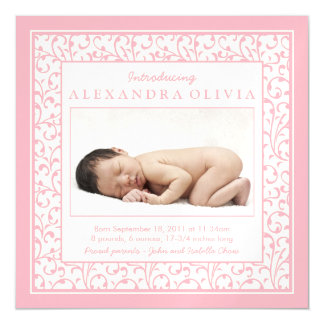 Baby Girl Photo Damask Floral Birth Announcement Magnetic Invitations