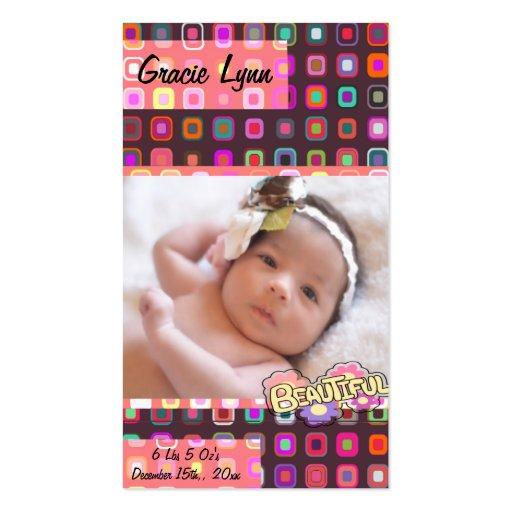 Baby Girl Photo Keepsake Business Cards
