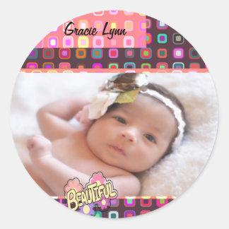 Baby Girl Photo Keepsake Classic Round Sticker