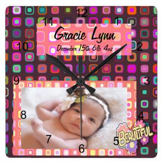 Baby Girl Photo Keepsake Square Wall Clock