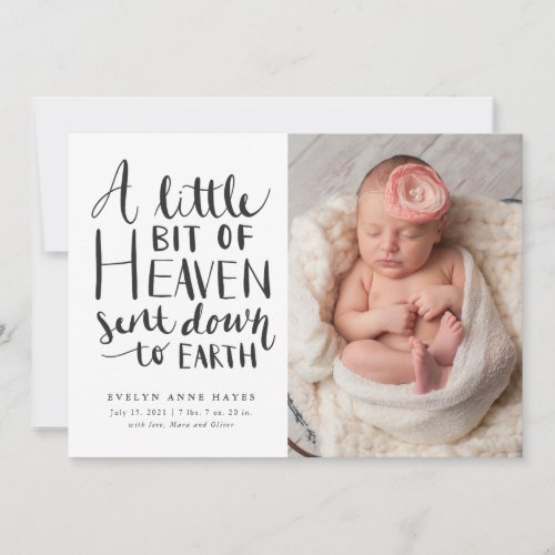 Baby Girl Photo Little Heaven Sent To Earth Birth Announcement