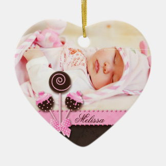 Baby Girl Photo Ornament Cake Pops Pink
