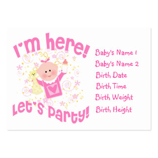 Baby Girl Photo Personalized Announcement Card Business Card