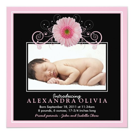 Baby Girl Photo Pink Daisy Birth Announcement