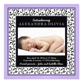 Baby Girl Photo Purple Damask Birth Announcement