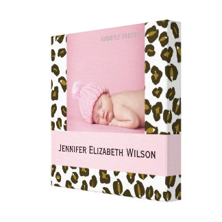 Baby Girl Photo Wrapped Canvas Cheetah Pattern