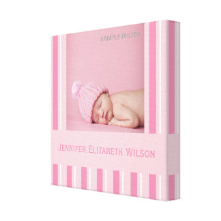 Baby Girl Photo Wrapped Canvas Pink White Stripes