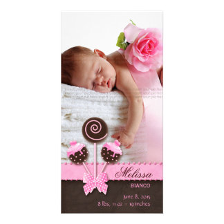 Baby Girl Photocard Announcement Cake Pops Pink